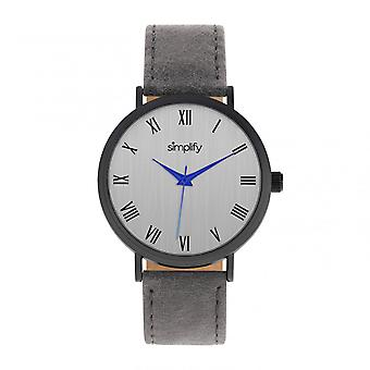 Simplify The 2900 Leather-Band Watch - Black/Charcoal