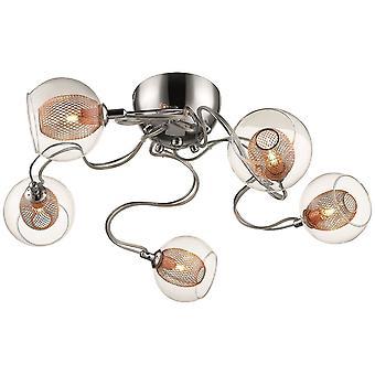 Lente verlichting - Liverpool chroom en koper vijf lichte Flush montage DBOP067DQ5GMVT