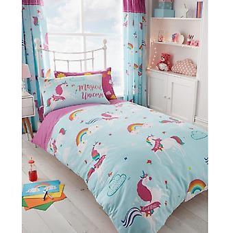 Unicorn Fairytale Påslakanset Bäddset Sängkläder Vändbart 137x200 cm