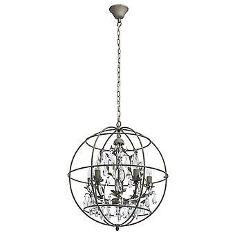 Glasberg - pingente cinco luz areia cinza acabamento com claros cristais 104011805