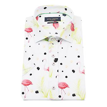 Gids Londen witte Flamingo puur katoen / korte mouw hemd voor mannen