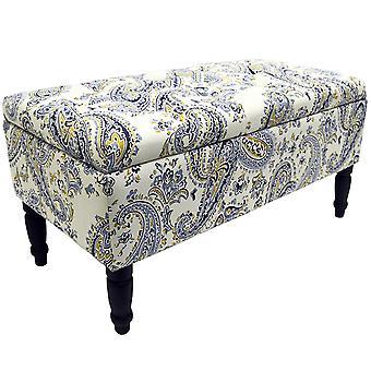 Paisley - Storage osmanniske taburet / tæppe boks / polstret Trunk - blå / sort / creme