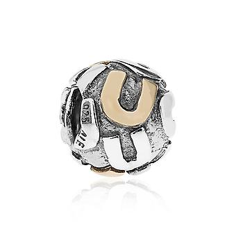 Pandora brev U silver & 14k guld charm 790298U