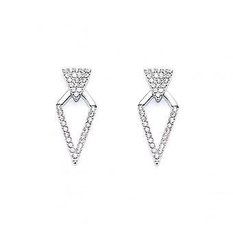 VIP Silver Plated Crystal Set Diamond Shape Drop Earrings
