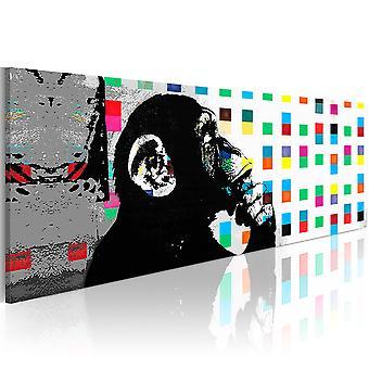 Schilderij - Banksy: The Thinker Monkey