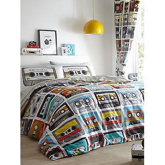 Cubierta de edredón de cassettes retro y juego de funda de almohada