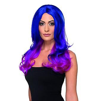 أزياء أومبر شعر مستعار متموج طويل الأزرق والوردي مقاومة للحرارة / Styleable،