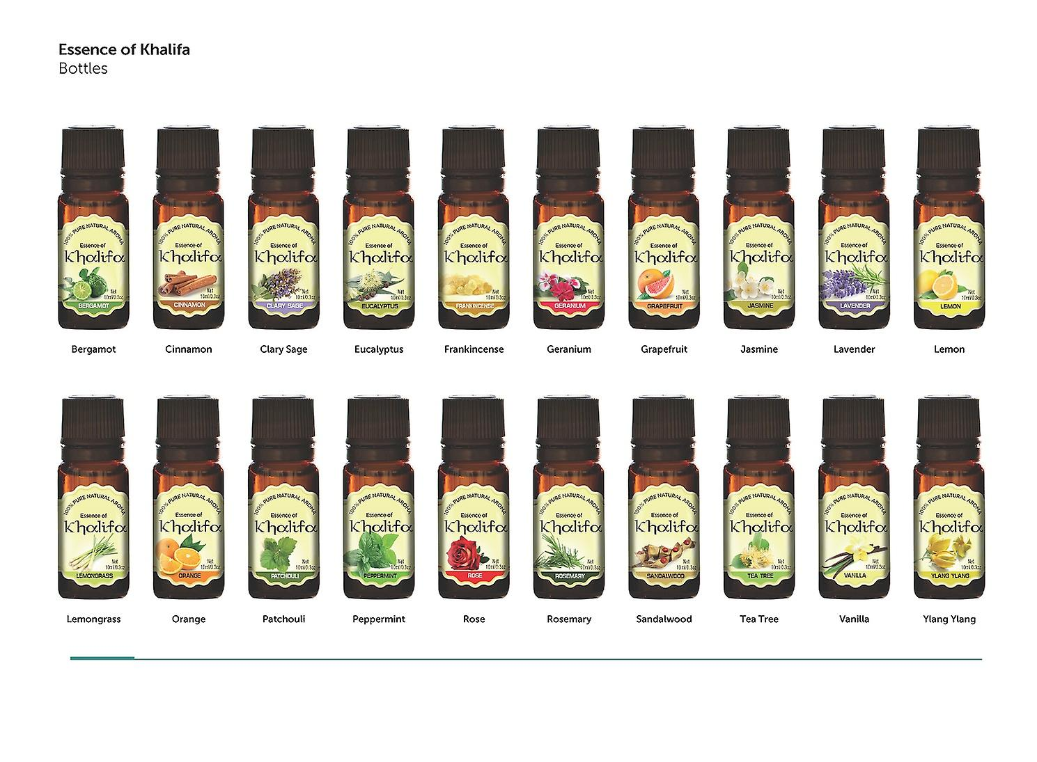 Essence Of Khalifa - 20pc Set of 10ml Luxury 100% Pure Aromatherapy Essential Oils - Therapeutic Grade Oil - Selection of the Top 20 with Guide and Recipe Booklet