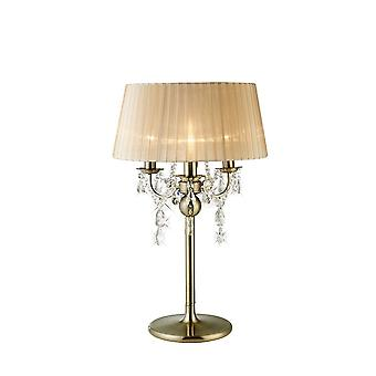 Diyas IL30065 Olivia Table Lamp With Soft Bronze Shade 3 Light Antique Brass/Crystal