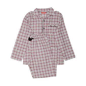 Minijammies 6382 Boy's Joseph Burgundy Red Mix Check Cotton Pyjama Set