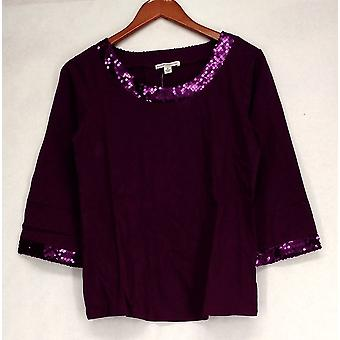 Isaac Mizrahi Live! 3/4 Sleeve Embellished Scoop Neck Purple Top A209316