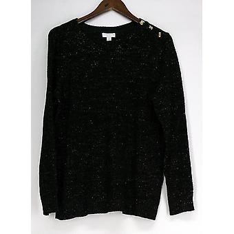 Charter Club Plus Sweater Metallic Pullover Deep Black Womens