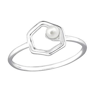 Hexagon - 925 Sterling Silver Jewelled Rings - W30407X