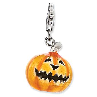 925 Sterling Silver Rhodium plated Fancy Lobster Closure 3 d Enameled Jack O Lantern With Lobster Clasp Charm Pendant Ne