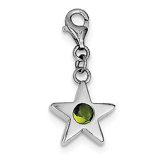 925 Sterling Silver Polished Open back Fancy Lobster Closure Août CZ Cubic Zirconia Simulated Diamond Star Charm Penda