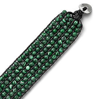 Edelstahl poliert Schleife und Perlenverschluss schwarz Schnur gewebt simuliert Malachit Armband 9 Zoll Schmuck Geschenke für Wo