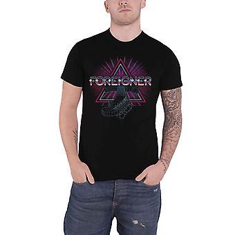 Foreigner T Shirt Neon Guitar Band Logo new Official Mens Black