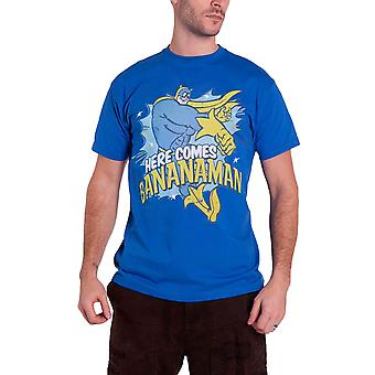 Bananaman T Shirt Here Comes Bananaman new Official Mens Blue