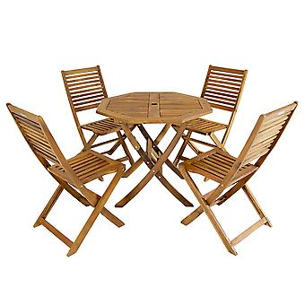 Charles Bentley FSC Acacia Wooden Octagonal Table & Chairs 5pc Set