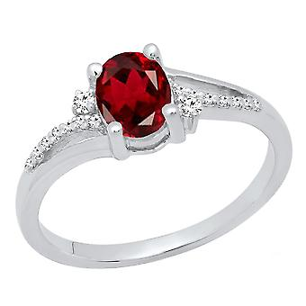 Dazzlingrock Collection Sterling Silver 7X5 MM Oval Garnet & Round Diamond Ladies Bridal Engagement Ring