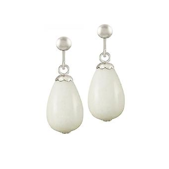 Eternal Collection Fontana White Jade Silver Tone Drop Screw Back Clip On Earrings