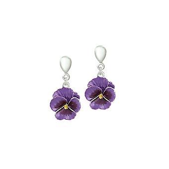 Eternal Collection Pansy Perfection Purple Enamel Silver Tone Drop Screw Back Clip On Earrings