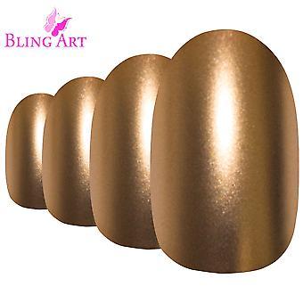 Накладные ногти bling искусства золото матовый металлический овал средних поддельные акриловые советы клеем