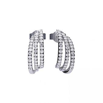 Diamonfire Silver White Zirconia Half Creole Earrings E5632