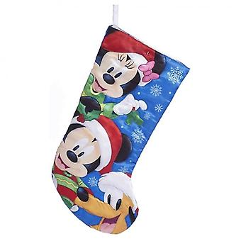 Mickey, Minnie, and Pluto Blue Christmas Stocking