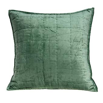 """20"""" x 7"""" x 20"""" Transitional Green Solid Quilted Pillow Cover With Poly Insert"""