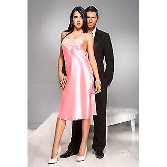 Vestido de noche largo satén-rosa