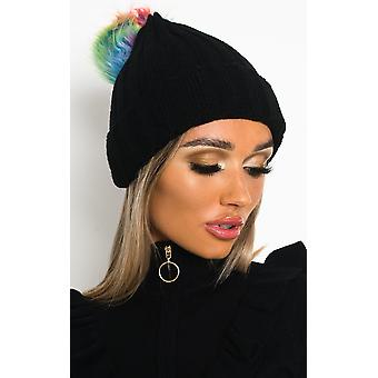 IKRUSH Womens Sam Knitted Pom Pom Beanie Hat