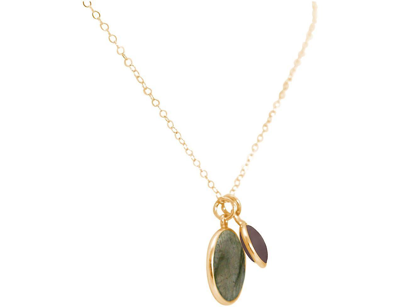 GEMSHINE Kette Labradorit, Rauchquarz Edelsteine 925 Silber, vergoldet oder rose