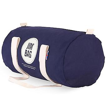 JIMBAG Navy & Cream Barrel Sports Fitness Gym Overnight Travel Bag