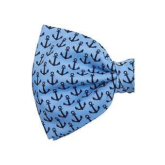 Dobell Mens Blue con nero ancore da stampa Cravatta pre-tied