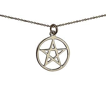 9ct Gold 23mm plain Pentangle in a circle Pendant with a 1.1mm wide cable Chain 20 inches