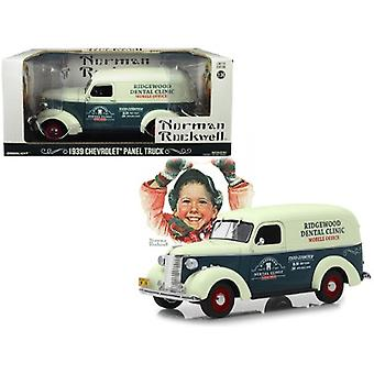 1939 Chevrolet Panel Truck Ridgewood Dental Clinic Norman Rockwell Delivery Vehicles Series Dark Gray and White 1/24 Diecast Model Car par Greenlight