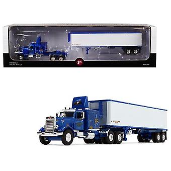 Peterbilt 351 63' Sleeper Cab With 40' Vintage Trailer Western Distributing Blue And White 1/64 Diecast Model By First Gear