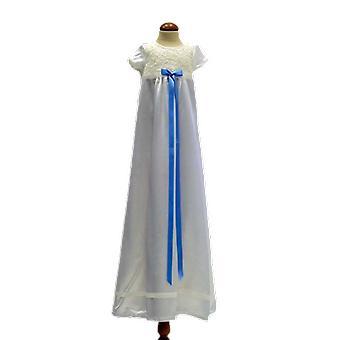 Dopklänning I Off White Med Kort ärm,  Ljusblå Smal Rosett