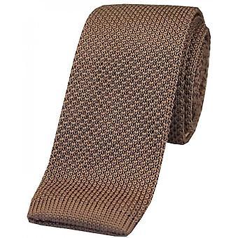David van Hagen Plain dun gebreid polyester stropdas-ivoor