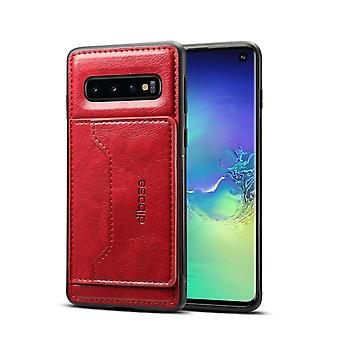 Para Samsung Galaxy S10 Case, Red Wild Horse Texture Folio Leather Wallet Capa