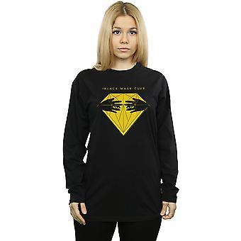 DC Comics Women's Birds Of Prey Black Mask Club Diamond Boyfriend Fit Long Sleeved T-Shirt