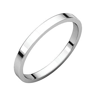 925 Sterling Silver 2mm Flat Band Ring Size 7.5 Jewelry Gifts for Women - 1.5 Grams