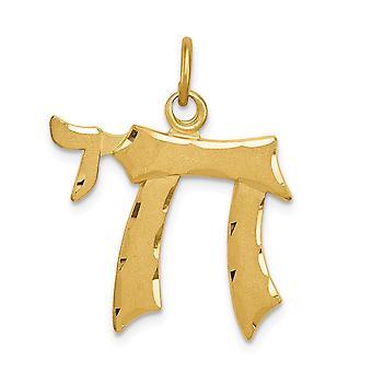 925 Sterling Silber Satin Gold Ton poliert Chai Anhänger Halskette Schmuck Geschenke für Frauen