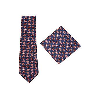 JSS Navy And Red Paisley Tie And Pocket Square Set