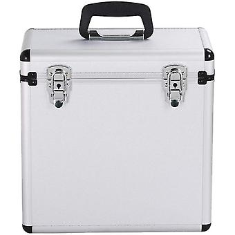 12 pouces Vinyl LP Record Collection DJ Flight Case Storage Box Silver Holds 50pcs