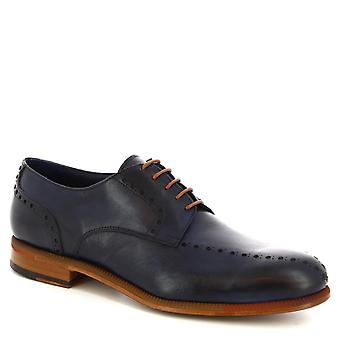 Leonardo Shoes Men's handmade lace-ups oxford shoes in dark blue calf leather