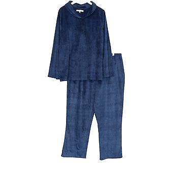Carole Hochman Kvinner's Pluss Pyjamas Sett Krage Saksøkt Fleece Blå A368297