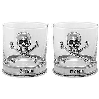 Poison Skull & Crossbones Pewter Whisky Glass Tumbler - Set of 2
