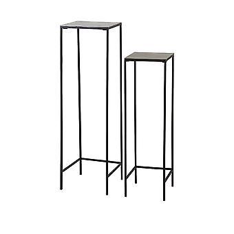Light & Living Side Table Set Of 2 Max 30x30x120cm Hartsville Dark Brown Bronze